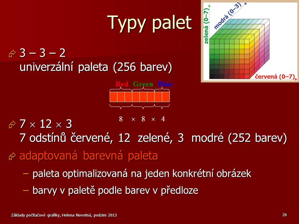 Typy palet 3 – 3 – 2 univerzální paleta (256 barev)