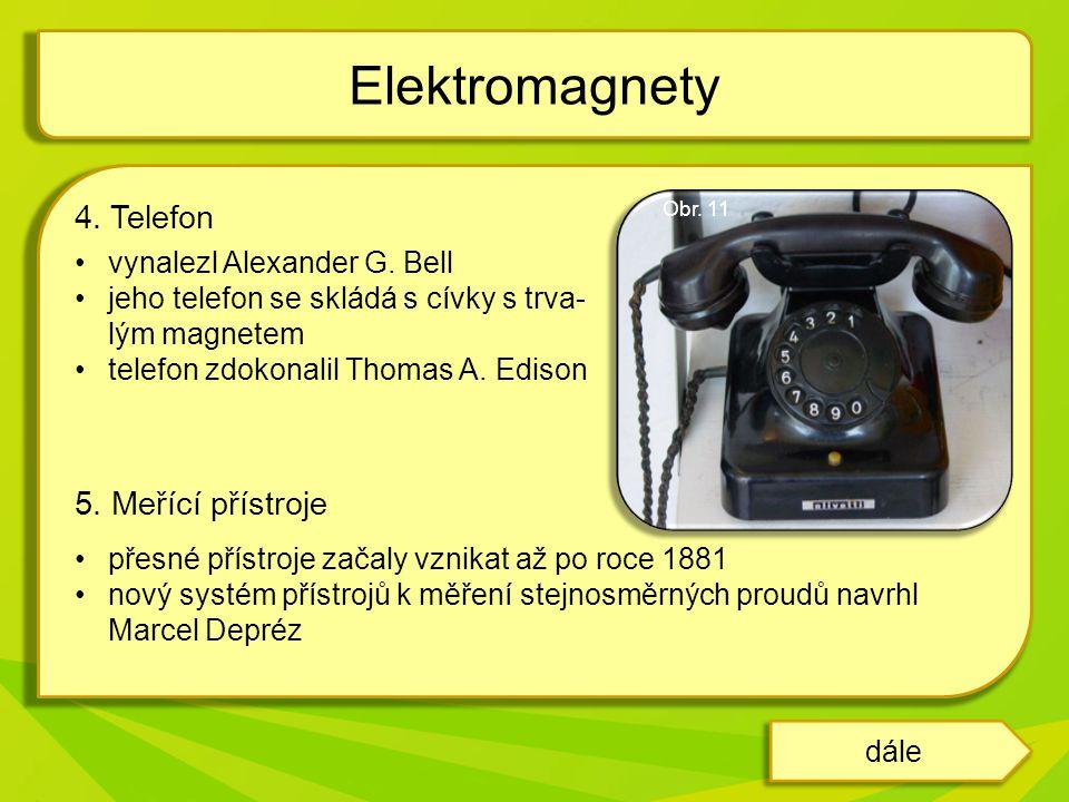 Elektromagnety 4. Telefon 5. Meřící přístroje