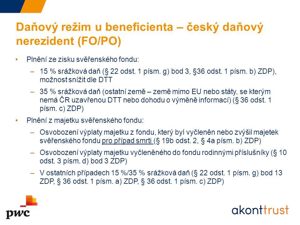 Daňový režim u beneficienta – český daňový nerezident (FO/PO)