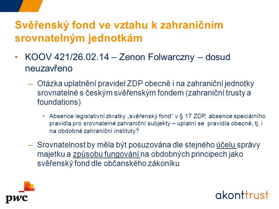 Svěřenský fond ve vztahu k zahraničním srovnatelným jednotkám