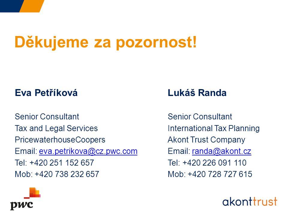 Děkujeme za pozornost! Eva Petříková Lukáš Randa Senior Consultant
