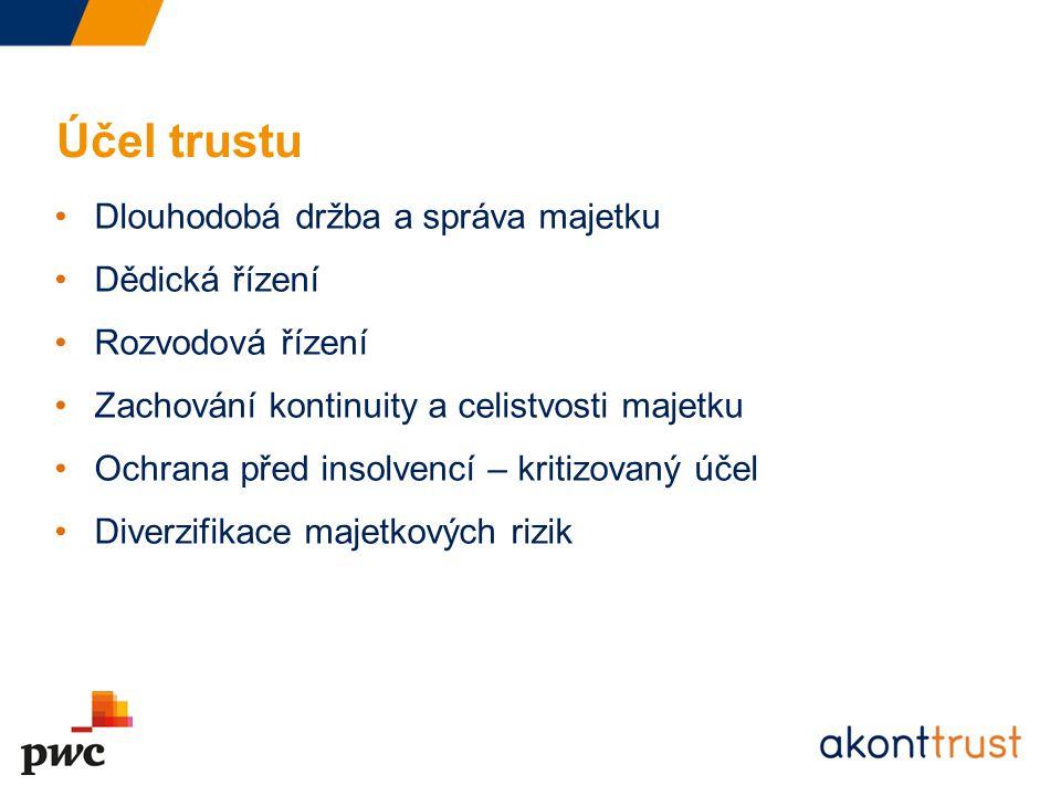 Účel trustu Dlouhodobá držba a správa majetku Dědická řízení