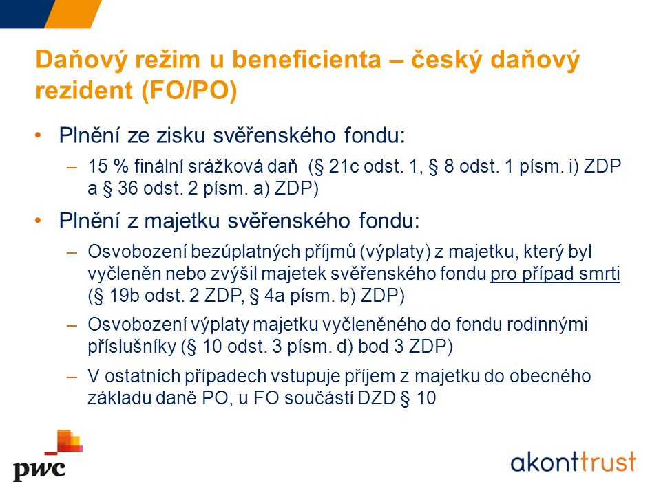 Daňový režim u beneficienta – český daňový rezident (FO/PO)