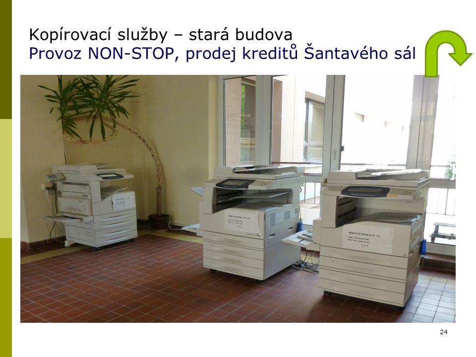 Kopírovací služby – stará budova Provoz NON-STOP, prodej kreditů Šantavého sál