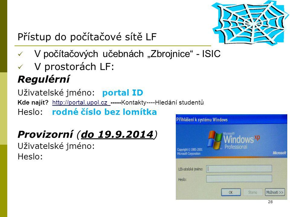 Přístup do počítačové sítě LF