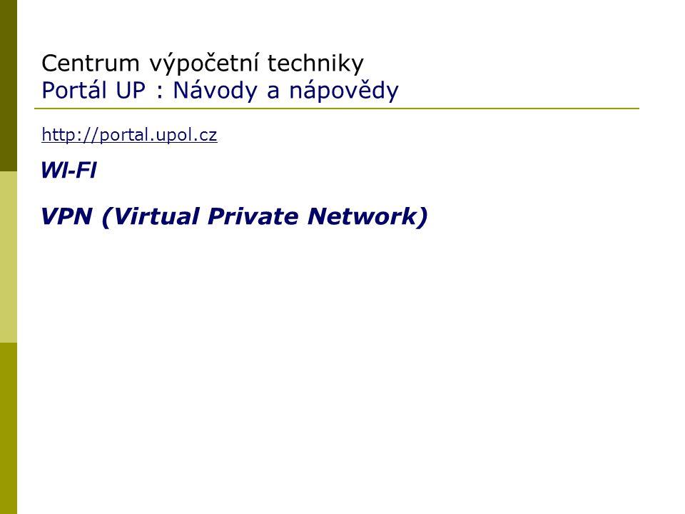 Centrum výpočetní techniky Portál UP : Návody a nápovědy