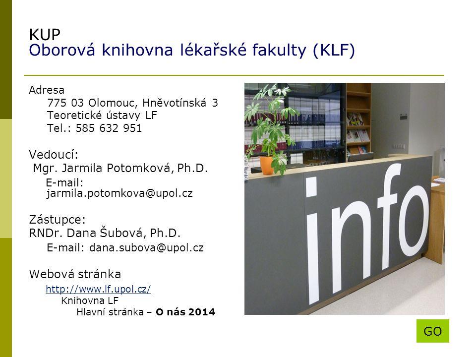 KUP Oborová knihovna lékařské fakulty (KLF)