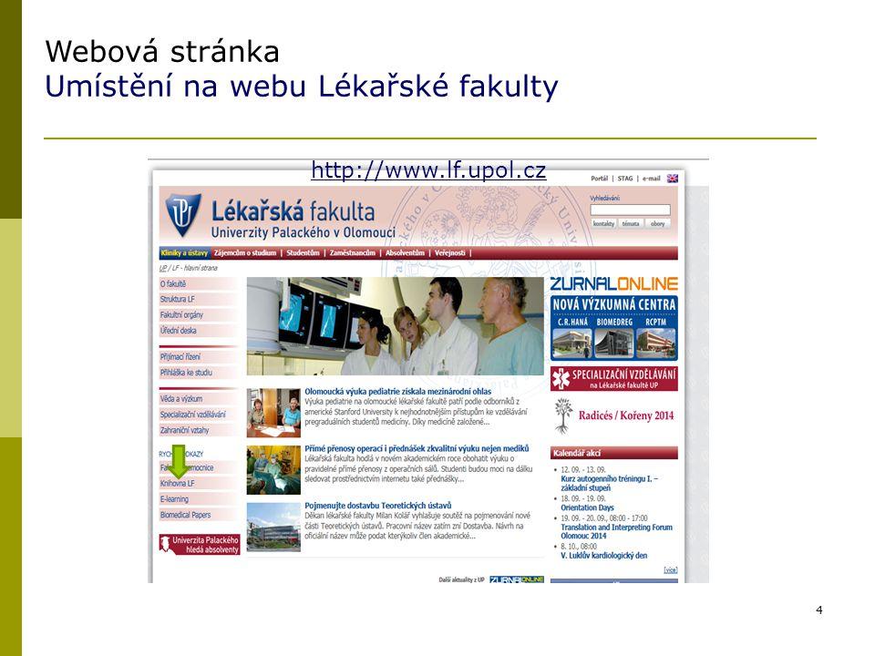 Umístění na webu Lékařské fakulty