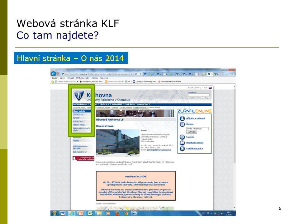 Webová stránka KLF Co tam najdete