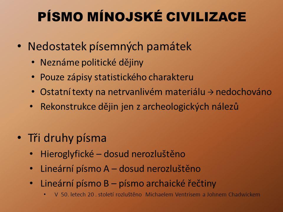 PÍSMO MÍNOJSKÉ CIVILIZACE