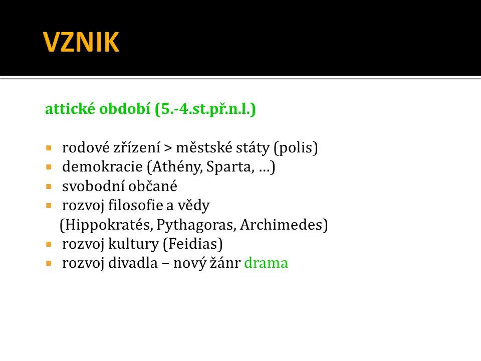 VZNIK attické období (5.-4.st.př.n.l.)