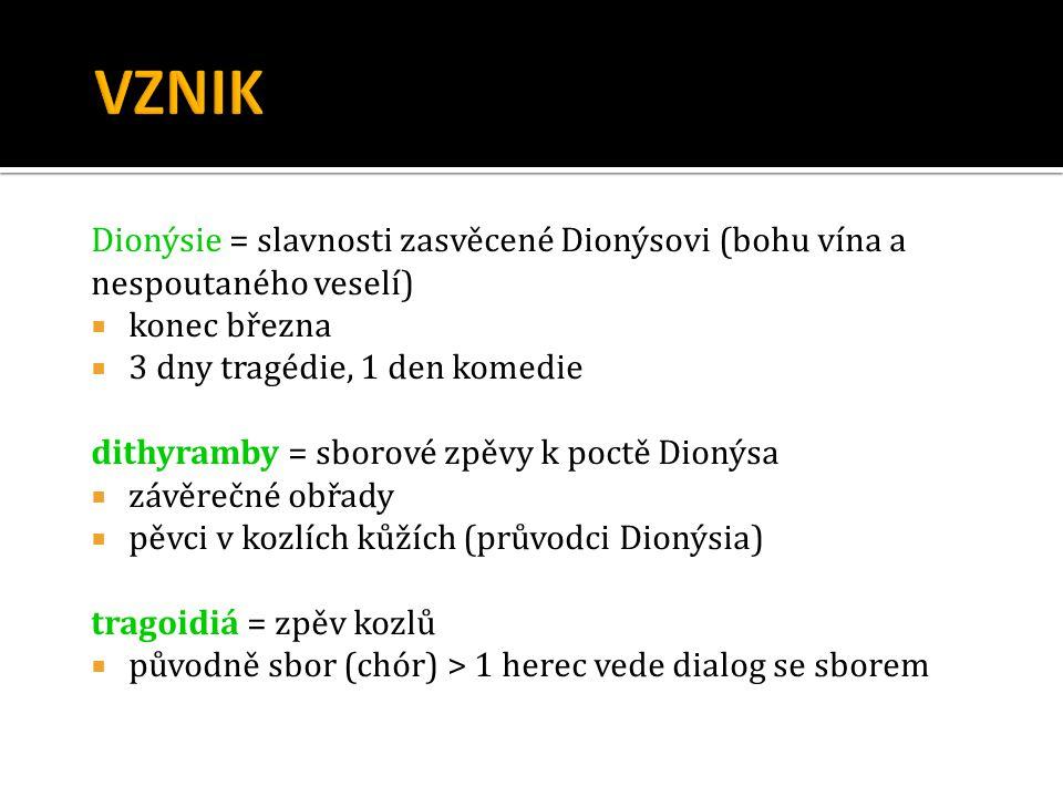 VZNIK Dionýsie = slavnosti zasvěcené Dionýsovi (bohu vína a nespoutaného veselí) konec března. 3 dny tragédie, 1 den komedie.