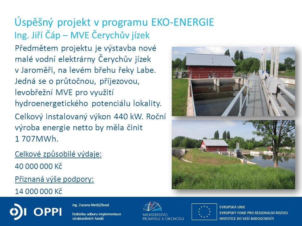 Úspěšný projekt v programu EKO-ENERGIE Ing