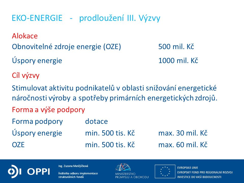 EKO-ENERGIE - prodloužení III. Výzvy