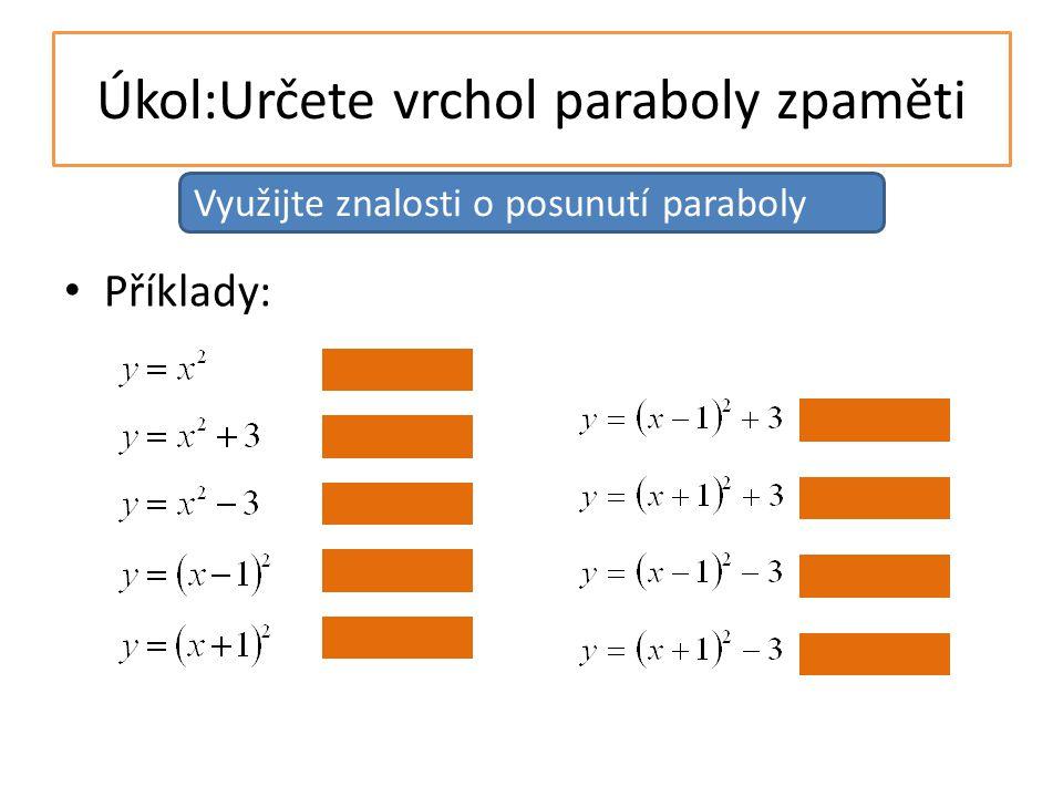 Úkol:Určete vrchol paraboly zpaměti