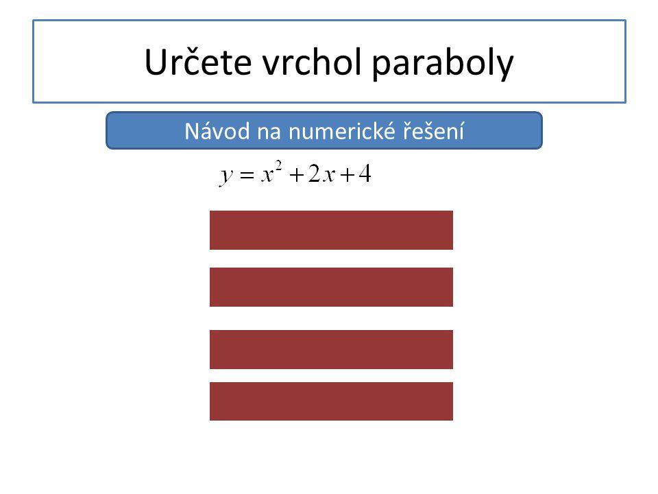 Určete vrchol paraboly