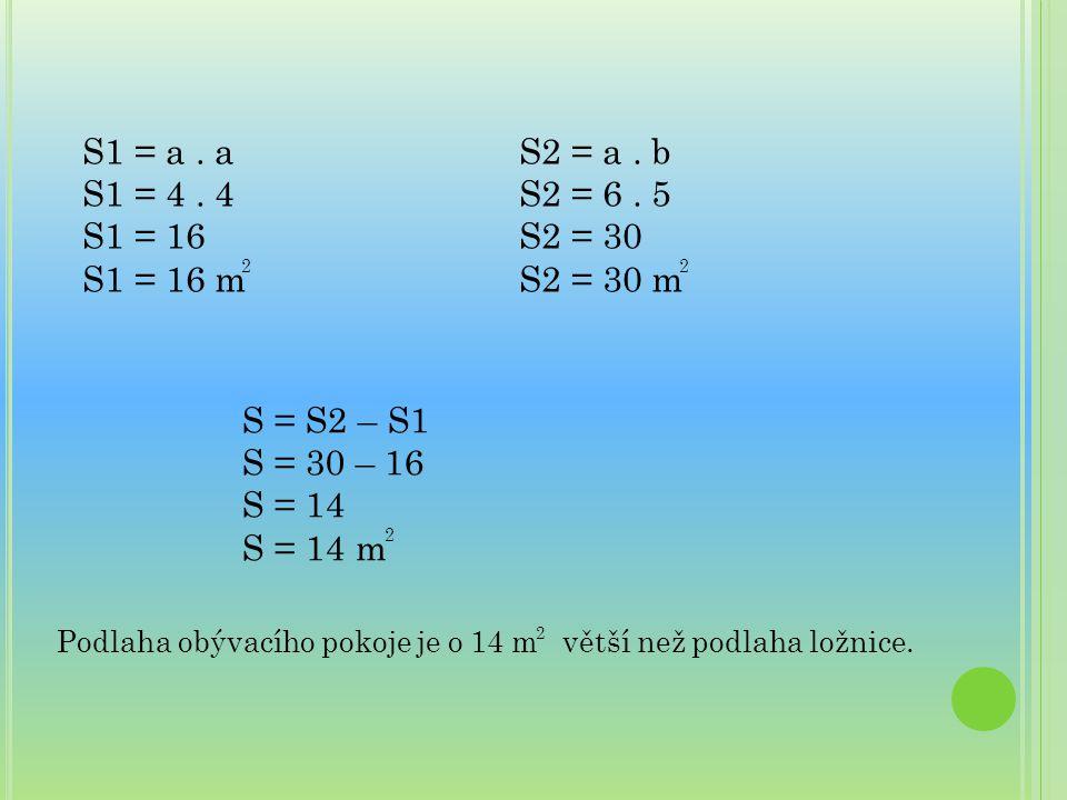 S1 = a . a S1 = 4 . 4. S1 = 16. S1 = 16 m. S2 = a . b. S2 = 6 . 5. S2 = 30. S2 = 30 m. 2. 2.