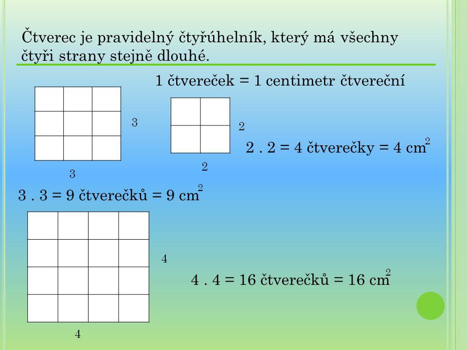 1 čtvereček = 1 centimetr čtvereční