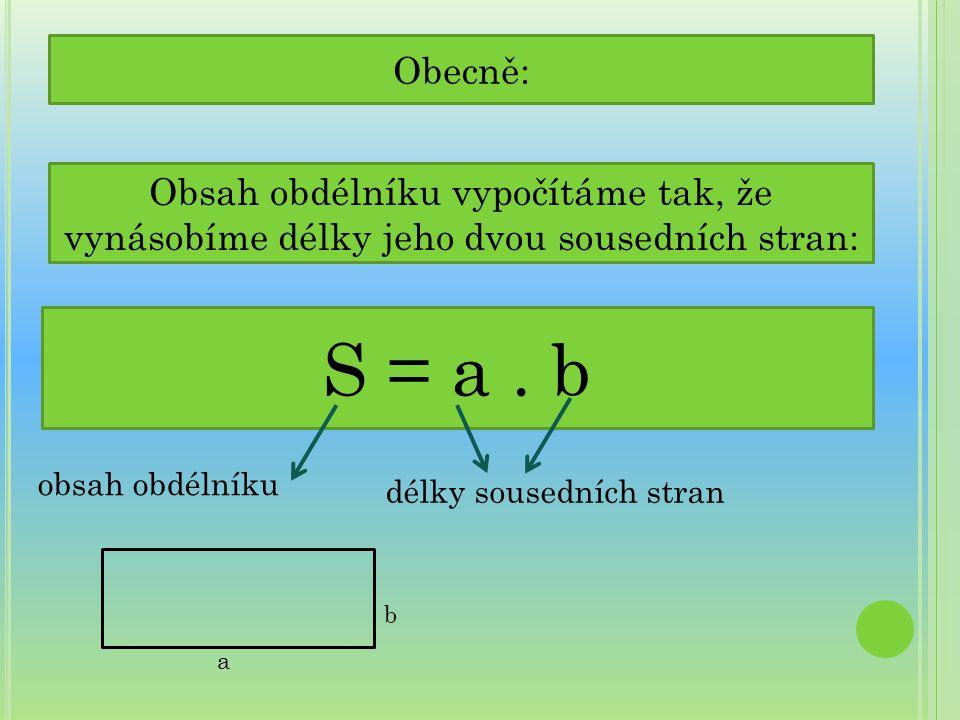 Obecně: Obsah obdélníku vypočítáme tak, že vynásobíme délky jeho dvou sousedních stran: S = a . b.