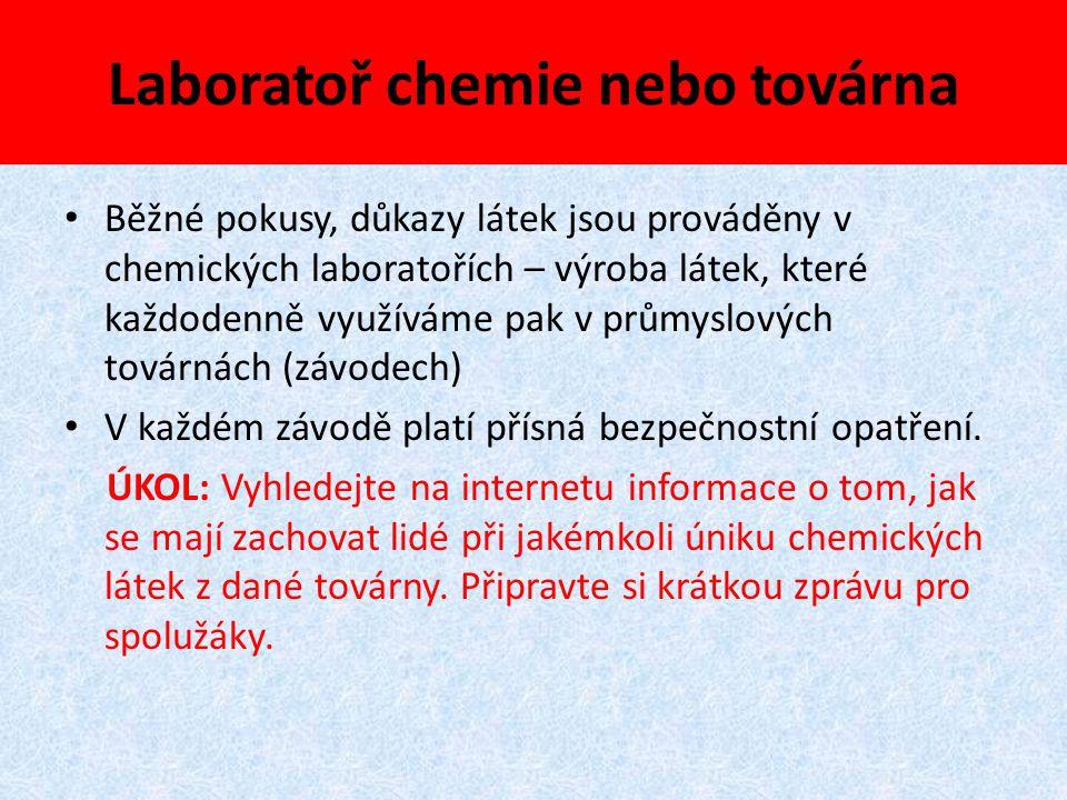 Laboratoř chemie nebo továrna