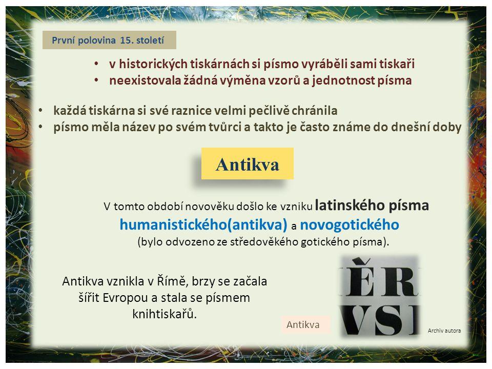 Antikva humanistického(antikva) a novogotického