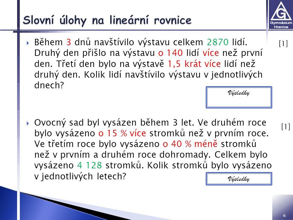 Slovní úlohy na lineární rovnice