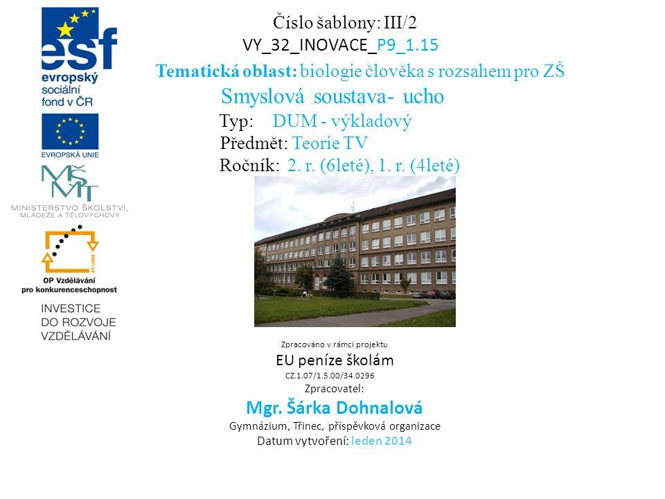 Tematická oblast: biologie člověka s rozsahem pro ZŠ