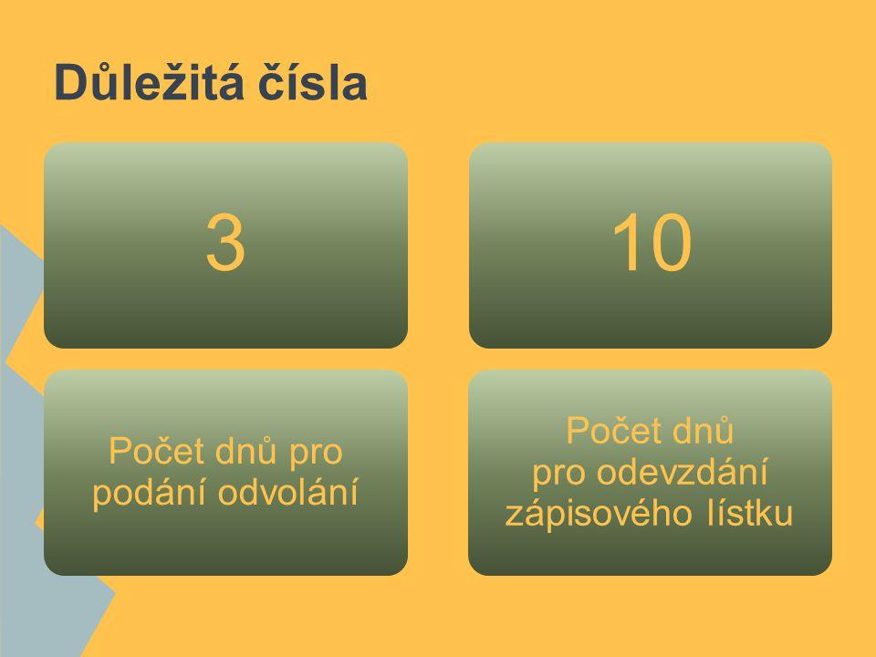 3 10 Důležitá čísla Počet dnů pro odevzdání zápisového lístku