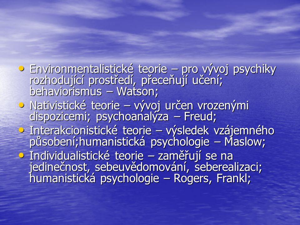 Environmentalistické teorie – pro vývoj psychiky rozhodující prostředí, přeceňují učení; behaviorismus – Watson;