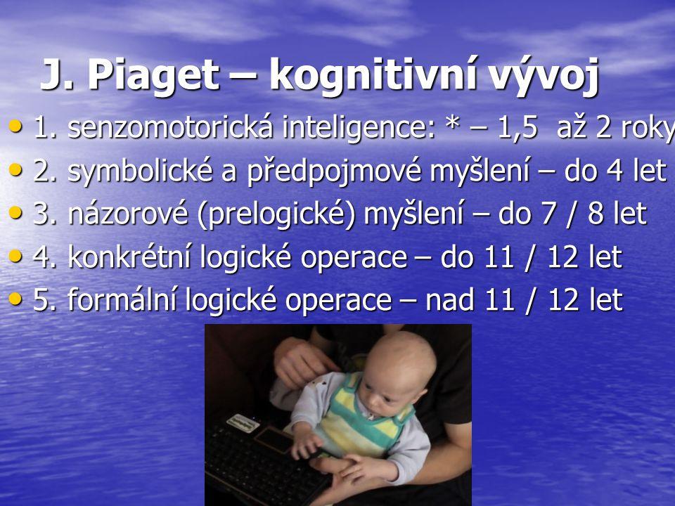 J. Piaget – kognitivní vývoj