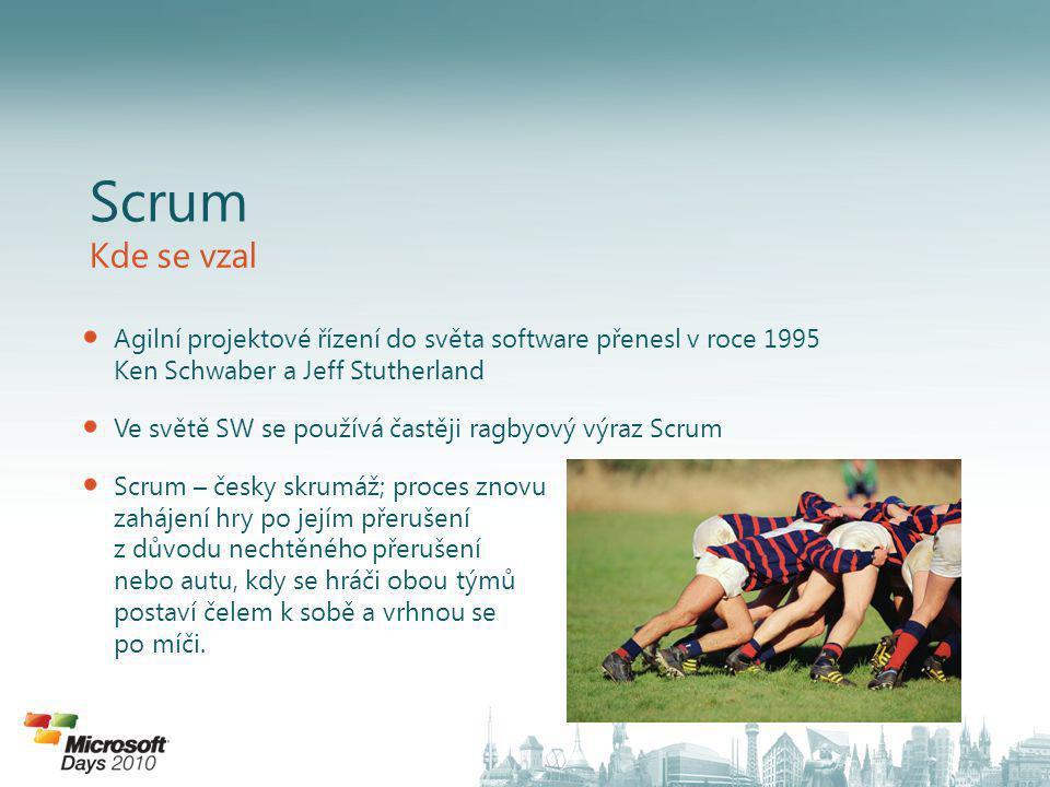 Scrum Kde se vzal. Agilní projektové řízení do světa software přenesl v roce 1995 Ken Schwaber a Jeff Stutherland.