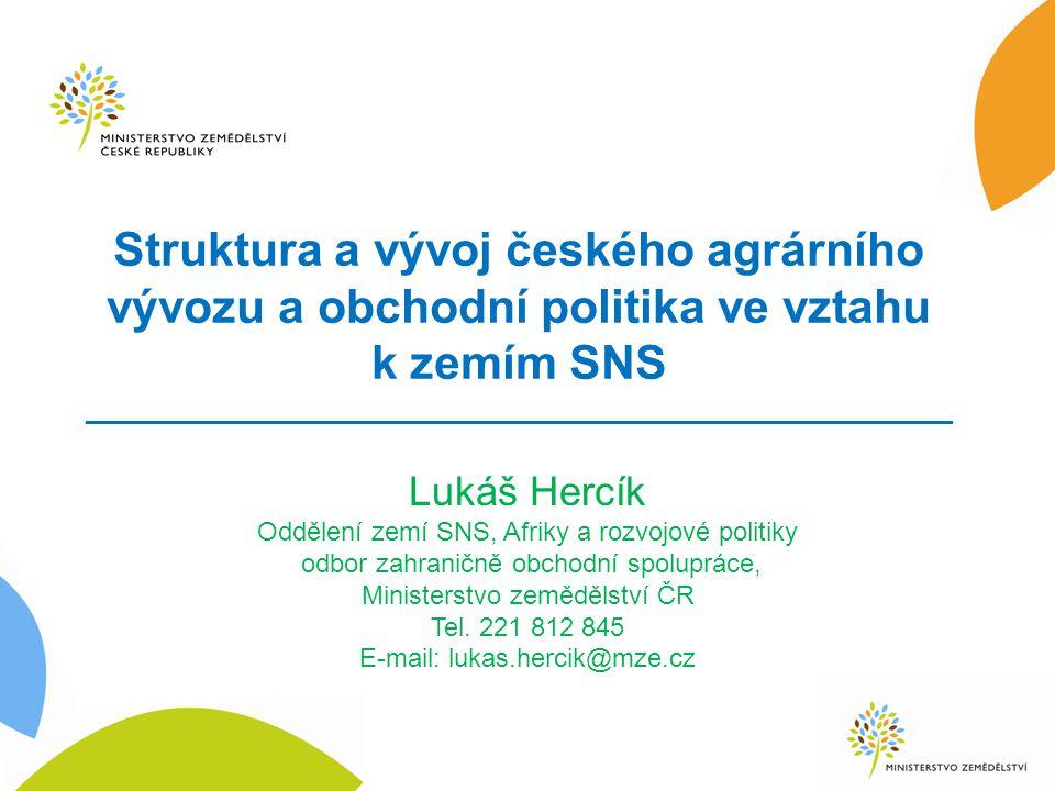 Struktura a vývoj českého agrárního vývozu a obchodní politika ve vztahu k zemím SNS _____________________________________________________