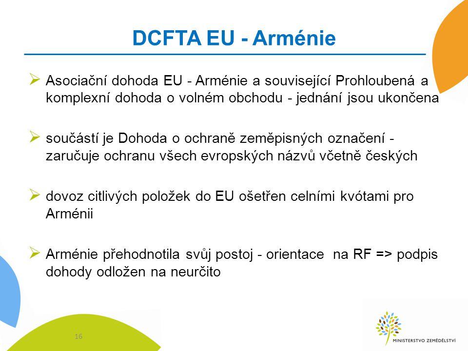 DCFTA EU - Arménie Asociační dohoda EU - Arménie a související Prohloubená a komplexní dohoda o volném obchodu - jednání jsou ukončena.