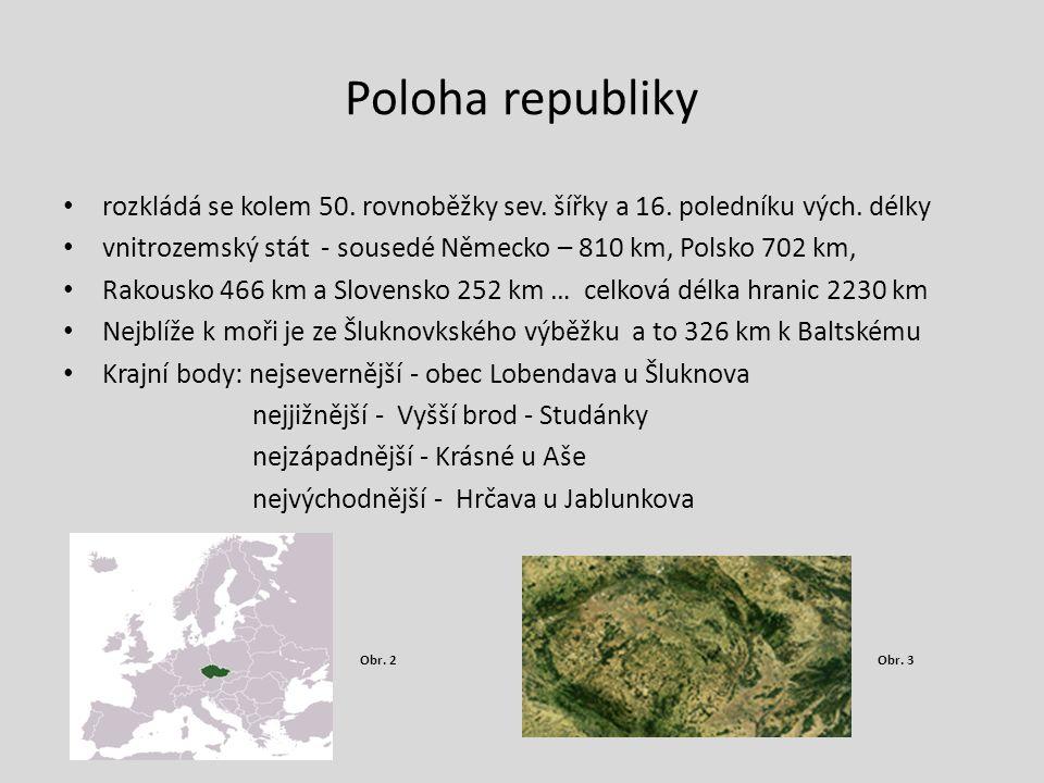 Poloha republiky rozkládá se kolem 50. rovnoběžky sev. šířky a 16. poledníku vých. délky.