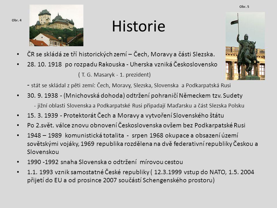 Obr. 5 Historie. Obr. 4. ČR se skládá ze tří historických zemí – Čech, Moravy a části Slezska.