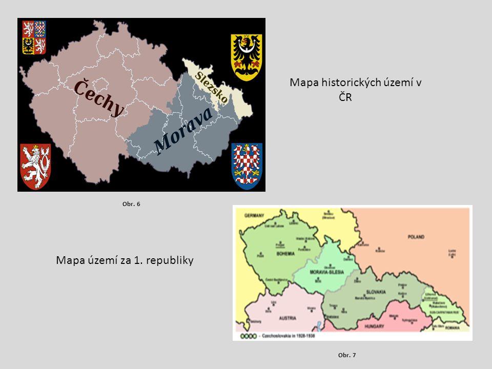 Mapa historických území v ČR