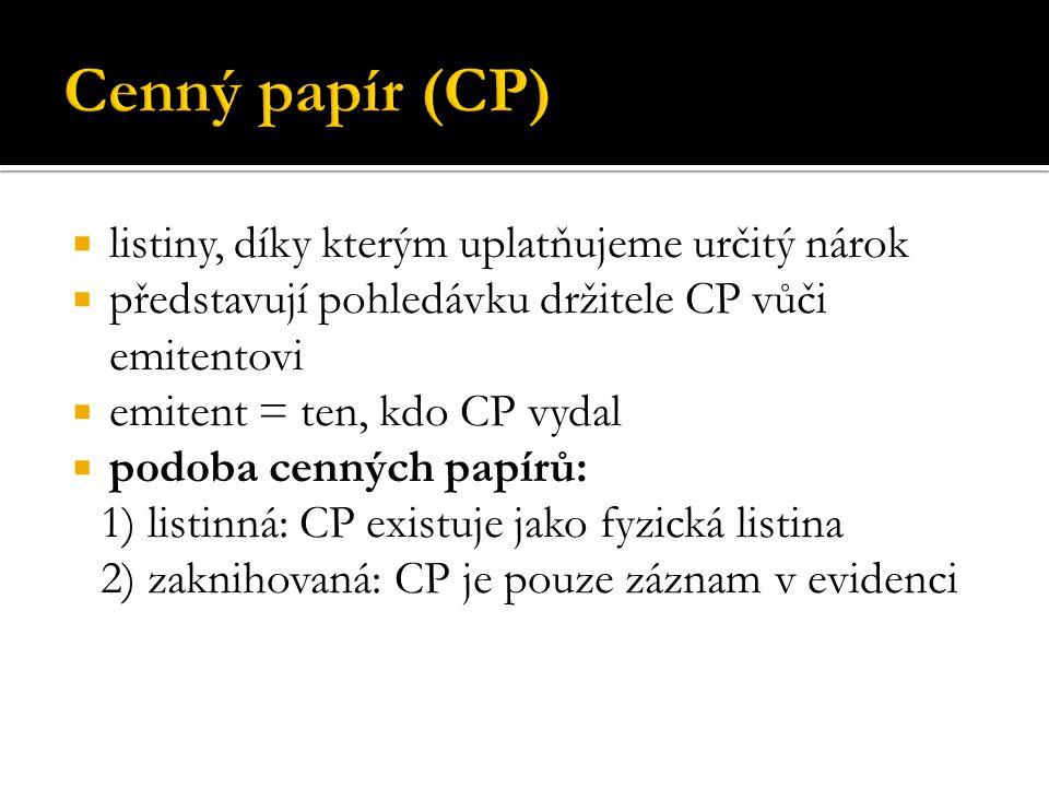 Cenný papír (CP) listiny, díky kterým uplatňujeme určitý nárok