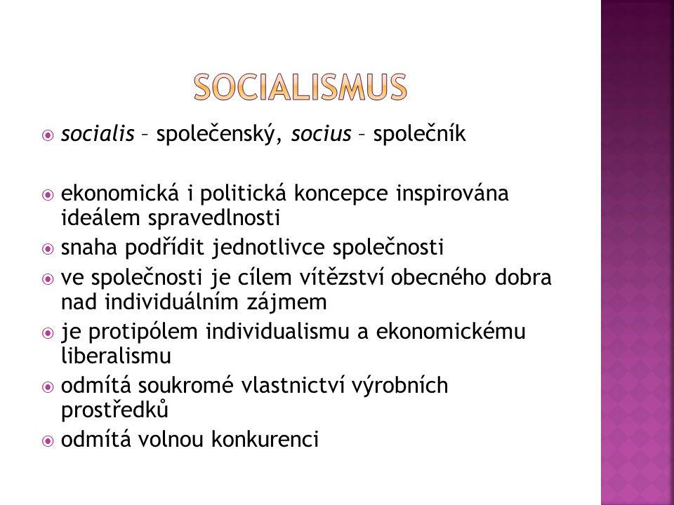 Socialismus socialis – společenský, socius – společník
