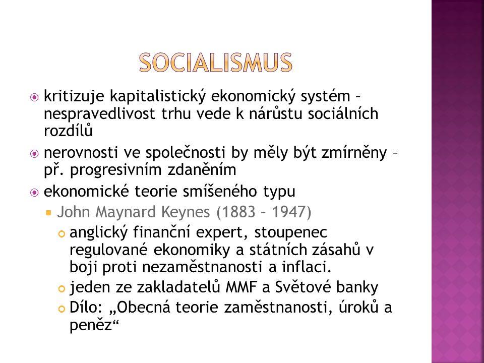 socialismus kritizuje kapitalistický ekonomický systém – nespravedlivost trhu vede k nárůstu sociálních rozdílů.