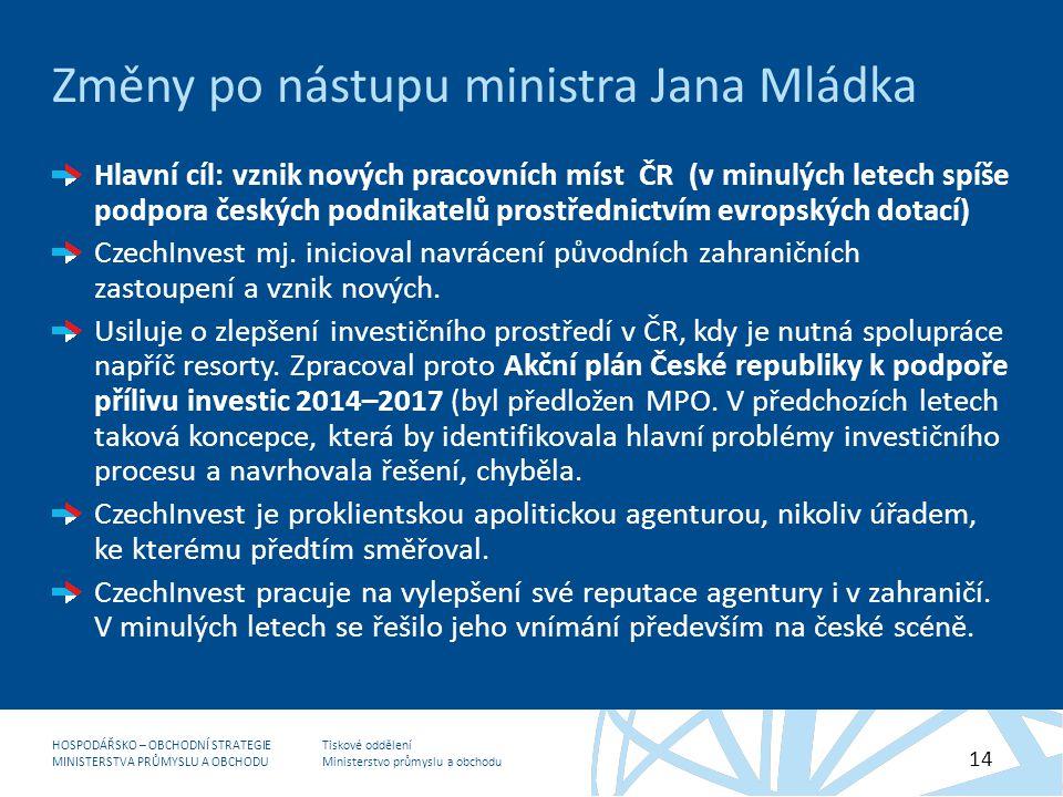 Změny po nástupu ministra Jana Mládka