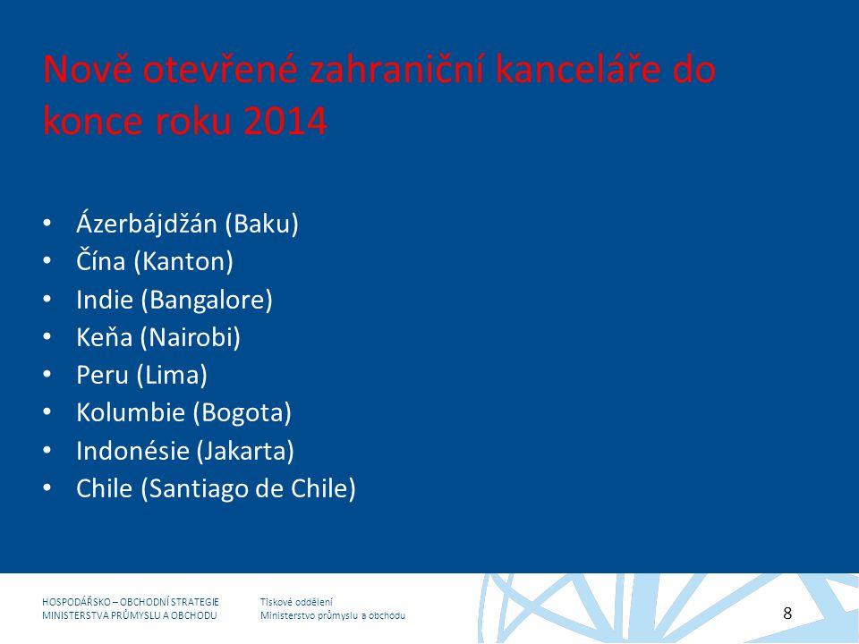 Nově otevřené zahraniční kanceláře do konce roku 2014
