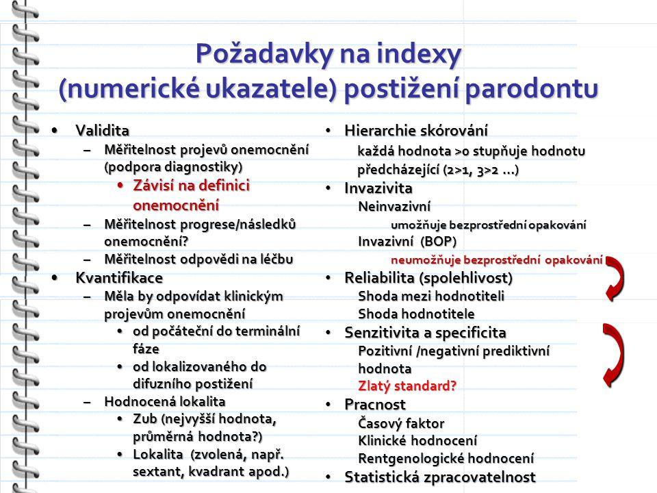 Požadavky na indexy (numerické ukazatele) postižení parodontu