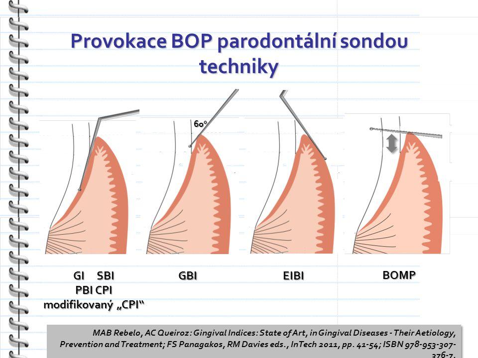 Provokace BOP parodontální sondou