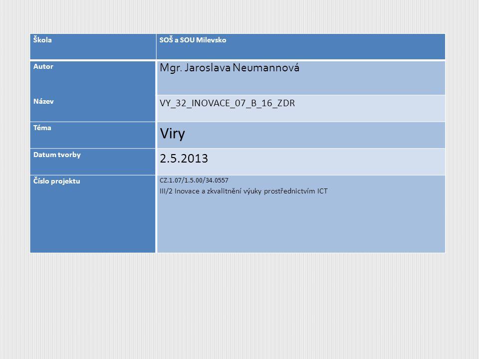 Viry 2.5.2013 Mgr. Jaroslava Neumannová VY_32_INOVACE_07_B_16_ZDR