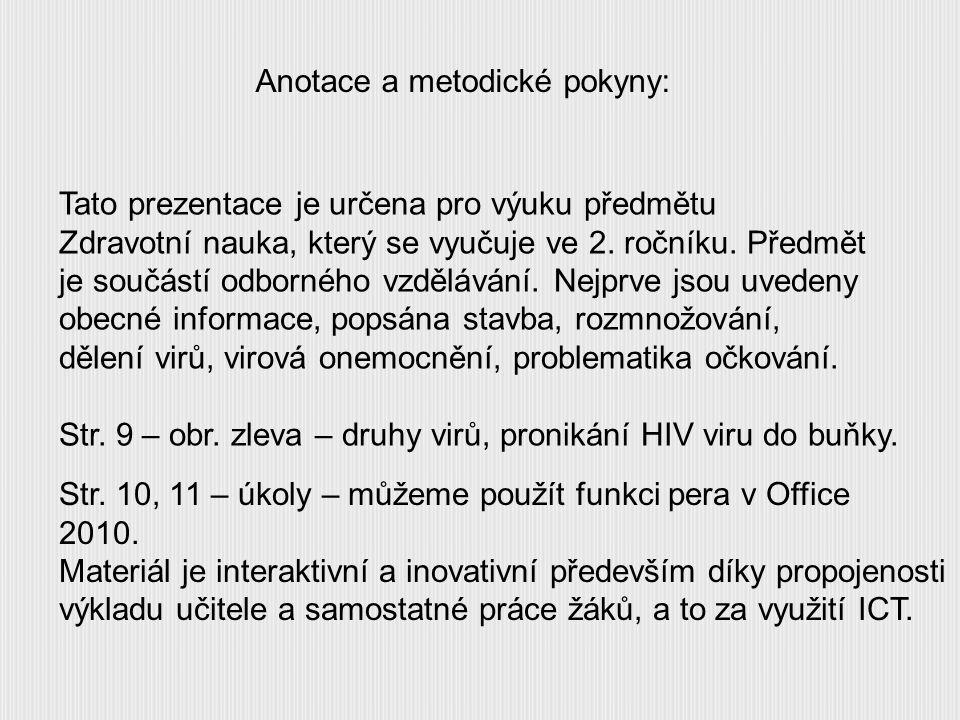 Anotace a metodické pokyny:
