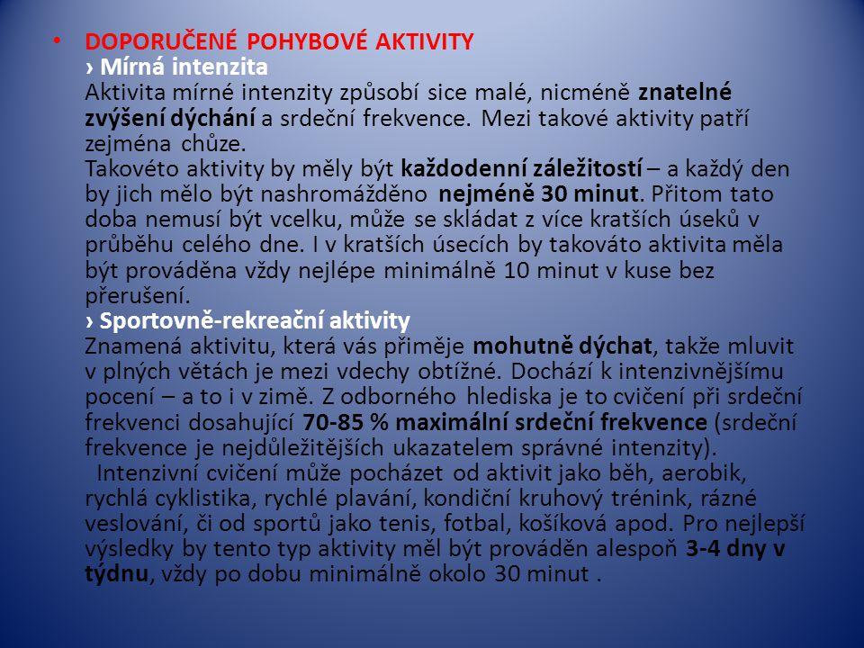 DOPORUČENÉ POHYBOVÉ AKTIVITY › Mírná intenzita Aktivita mírné intenzity způsobí sice malé, nicméně znatelné zvýšení dýchání a srdeční frekvence.