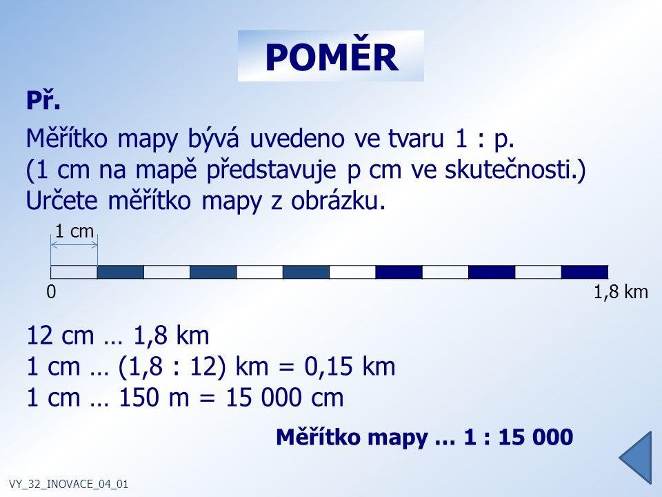 POMĚR Př. Měřítko mapy bývá uvedeno ve tvaru 1 : p.