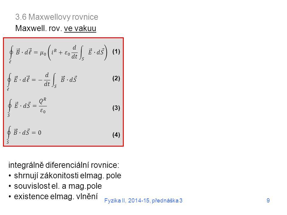 integrálně diferenciální rovnice: shrnují zákonitosti elmag. pole