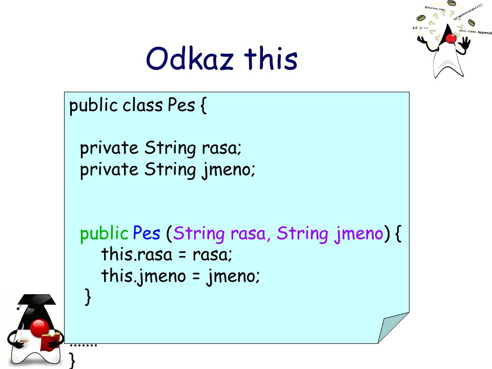 Odkaz this public class Pes { private String rasa;