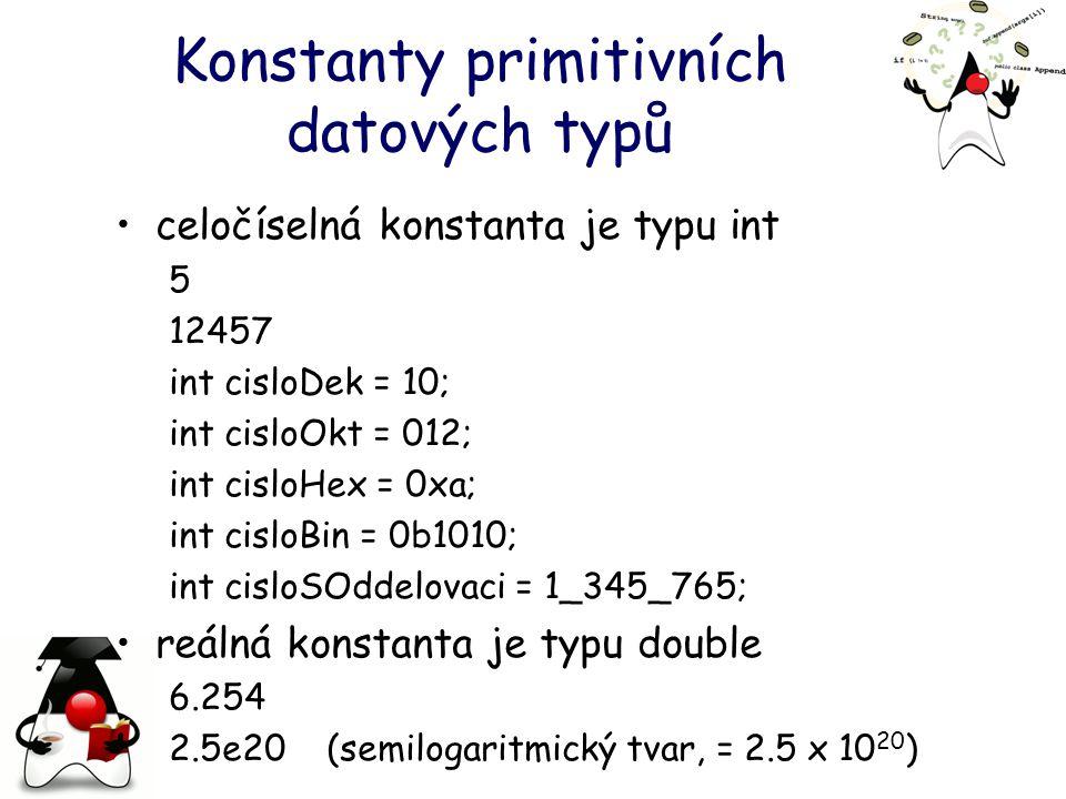 Konstanty primitivních datových typů